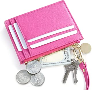 SERMAN BRANDS Slim Wristlet Card Case Holder Small RFID Blocking Wallet Change Purse for Women Keychain