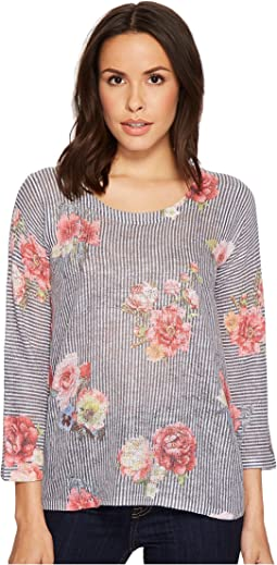 Nally & Millie - Stripe Floral 3/4 Sleeve Sweater Top