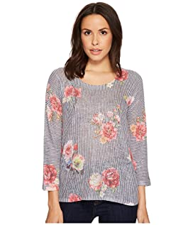 Stripe Floral 3/4 Sleeve Sweater Top