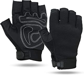 Illinois Glove Company 67 Fingerless Sports Gloves Synthetic Suede, Black