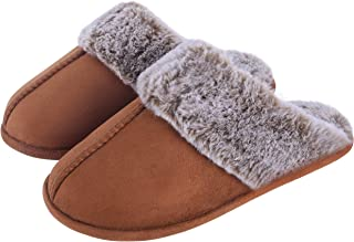 Women's Slippers Comfy Faux Fur Memory Foam Slip On House Slippers with Anti-Slip Rubber Sole, Indoor Outdoor Warm Plush House Shoes