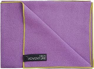 Aquis Adventure Sports Towel, Purple & Green Trim