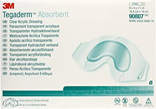 3M Tegaderm Absorbent Clear Acrylic Dressing, Sacral Design 90807, 5 Pads