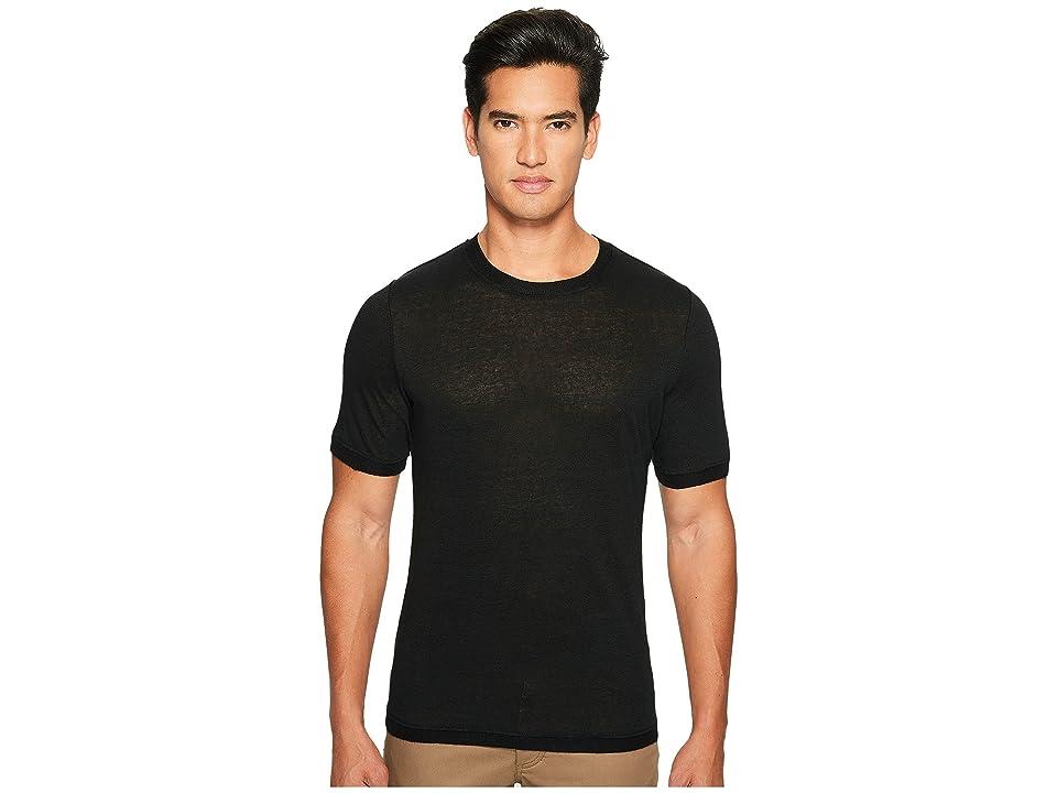 Vince Linen Short Sleeve Crew Neck Trimmed Sweater (Black) Men