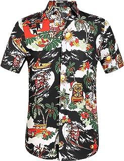 Geilisungren Hawaiana Florar Shirt Camisa Hombre Manga Corta