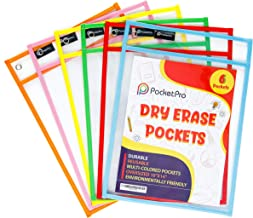 Pocket Pro 6 Dry Erase Pockets | Clear Plastic Reusable Sleeves | Multi-Colored Sheets | 10 x 14 inches | Teacher Supplies...