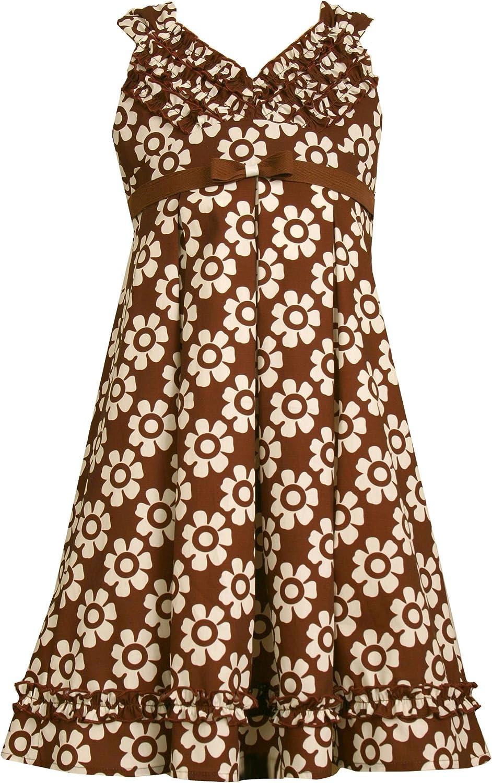Bonnie Jean Big Girls' Sleeveless Brown Ground Woven Dress W/ Allover Print