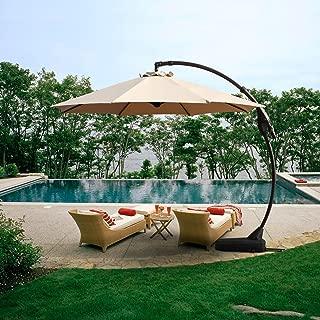 Grand Patio Offset Patio Umbrella,12 FT Curvy Outdoor Aluminum Cantilever Umbrella with Base,Champagne
