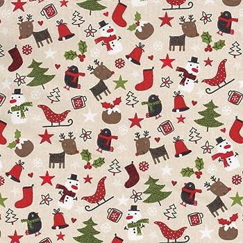 Textiles français Tela Navidad de algodón Estampada - Tiempo de ...