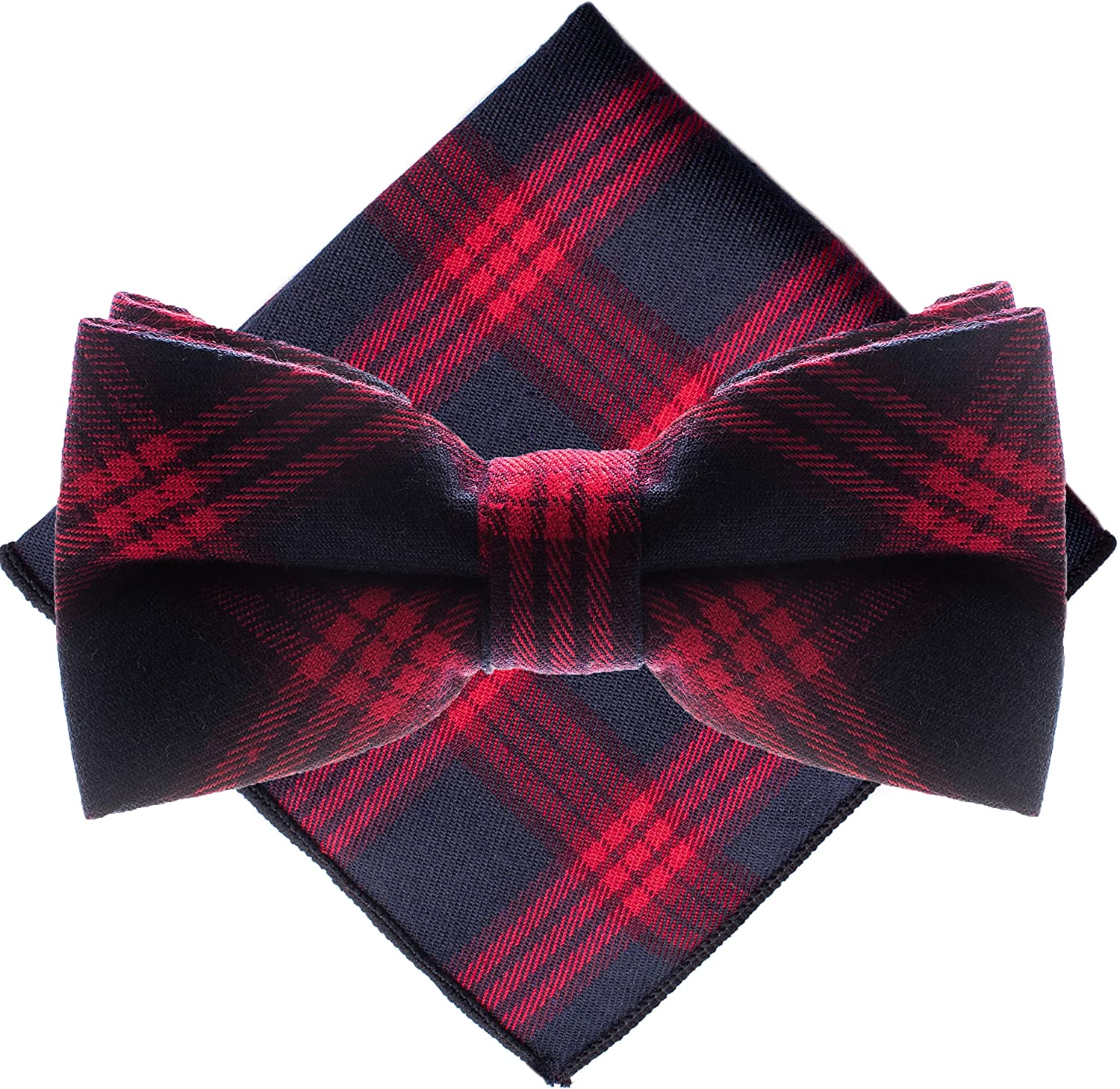 Man of Men - Bow Tie and Pocket Square Set - Plaid Collection
