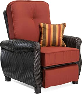 La-Z-Boy Outdoor Breckenridge Resin Wicker Patio Furniture Recliner (Brick Red) with All Weather Sunbrella Cushions