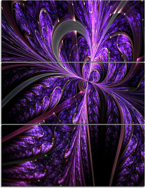 Designart 店内限界値引き中&セルフラッピング無料 Embossed Dark Purple 期間限定特価品 Shapes-Large Wall Art Floral Canv
