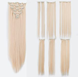 SWACC Women 22 Inches Straight Full Head 7 Separate Pieces Heat Resistance Synthetic Hair Clip in Hair Extensions (Bleach Blonde-613#)