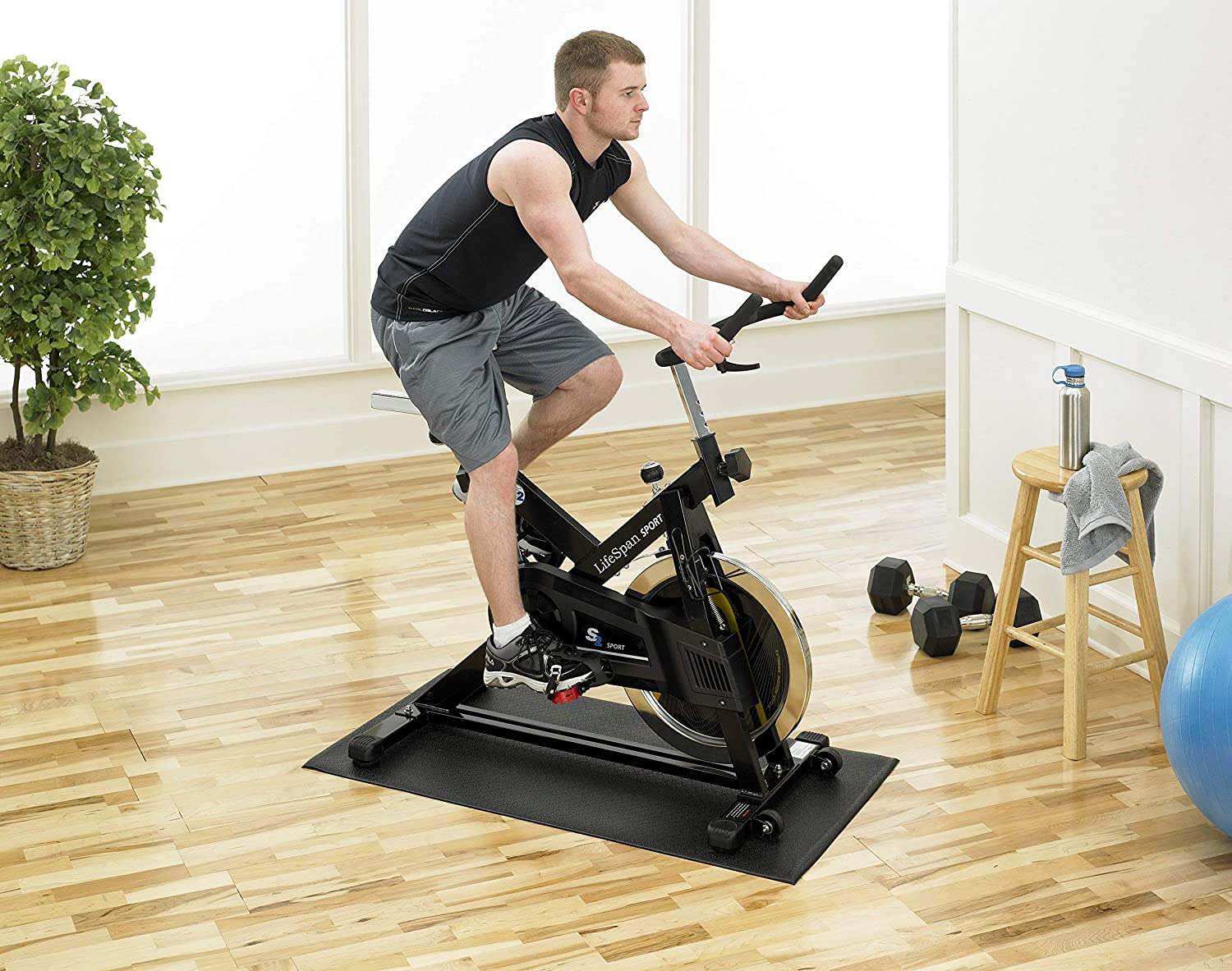 Supermats Heavy Duty Equipment Mat 20GS Made in U.S.A. for Indoor Cycles Exercise Upright Bikes and Steppers (2 Feet x 3 Feet 10 In) (24-Inch x 46-Inch) (60.96 cm x 116.84 cm) , Black: Sports & Outdoors