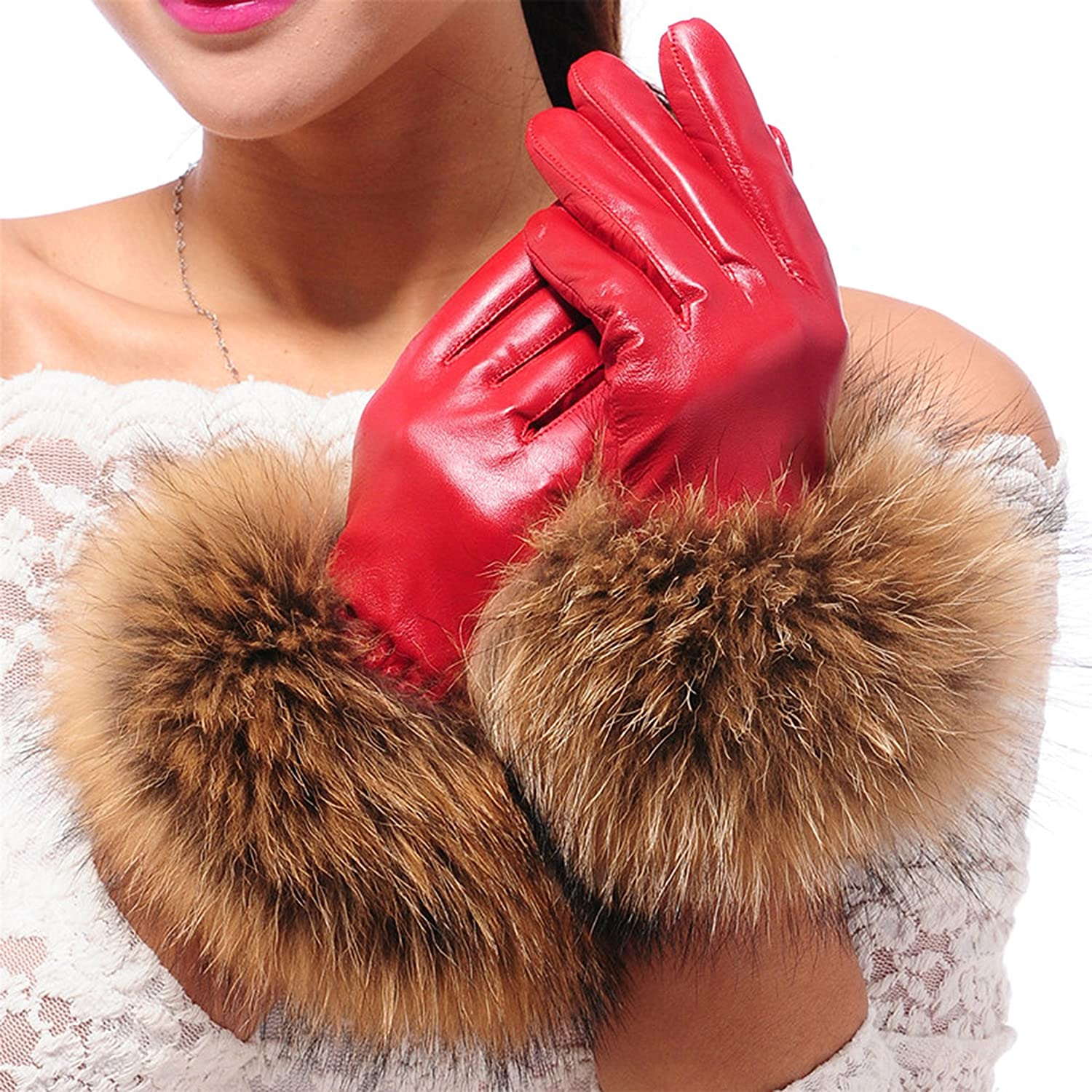 Cheapcotton Women's Red Genuine Soft Nappa Leather Gift Gloves with 100% Fox Fur Cuff