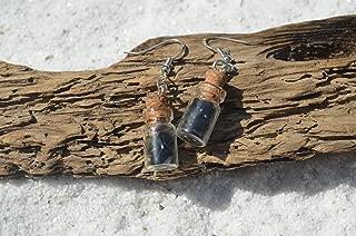 Apache Tear Stones in Delicate Glass Vial Earrings