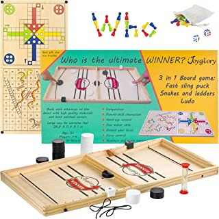 Joyglory Fast Sling Puck Game - Funny Family Wooden Hockey Game Large Size, Snakes and Ladders, Ludo Board Game, Speed Fin...