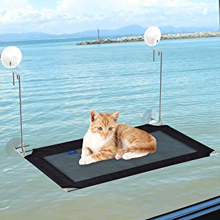 FUNPET Cat Window Perch,Best Hammock Window-Mounted Cat Shelves, Super Suction Cup Hanging Pet Heavy Duty Stainless Steel Bed, Washable Durable Cat Indoor Sturdy Bed Window Sunny Seat
