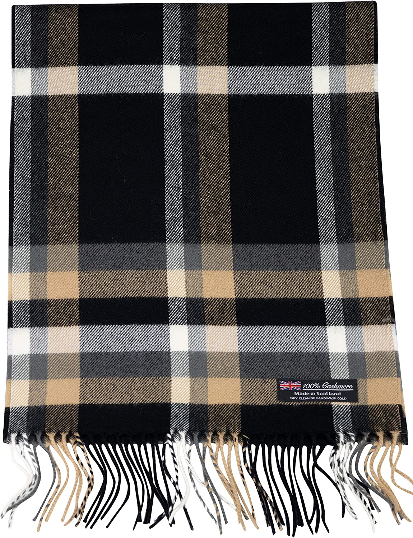 100% Cashmere Scarf Winter Nova Check Fashion Collection Made in Scotland Soft Wool Tartan Plaid for Men Women