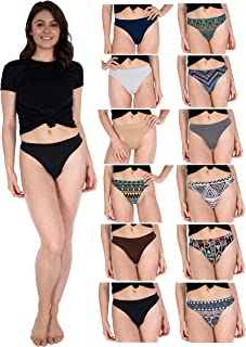 Women's 12-Pack Active Sport Thong Panties/Buttery Soft Spandex Workout Underwear