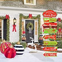 North Pole Street Yard Sign Cutouts with Stakes for Christmas Holiday Lawn Yard Outdoor Decorations Xmas Holiday Winter Decorations Outdoor Set of 8