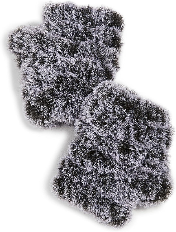 Jocelyn Women's Snowtop Faux Fur Knitted Mandy Mittens, Black/White, One Size