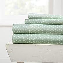 Becky Cameron Premium Ultra Soft Urban Arrows Pattern 4 Piece Bed Sheet Set, Full, Jade