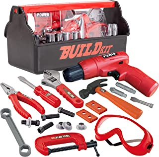 JOYIN 19 Pieces Pretend Play Construction Tool Set with a Tool Box Including Construction Tool, Accessories and Toy Electric Drill