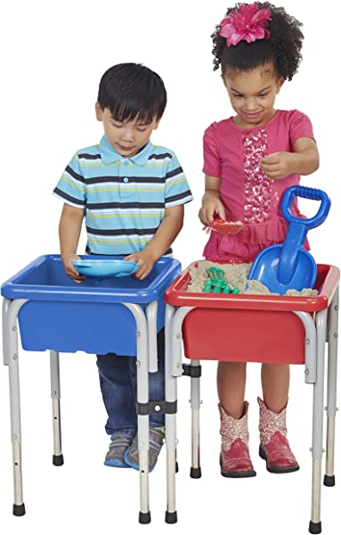 ECR4Kids ELR 12401 Assorted Colors Sand And Water Adjustable Activity Play Table Center With Lids Square 2 Station