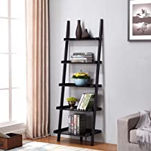 Black Finish 5 Tier Bookcase Shelf Ladder Leaning - 72