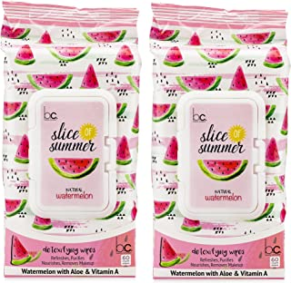 Beauty Concepts - 2 Pack (60 Count Each) Slice of Summer watermelon Detoxifying Facial Wipes