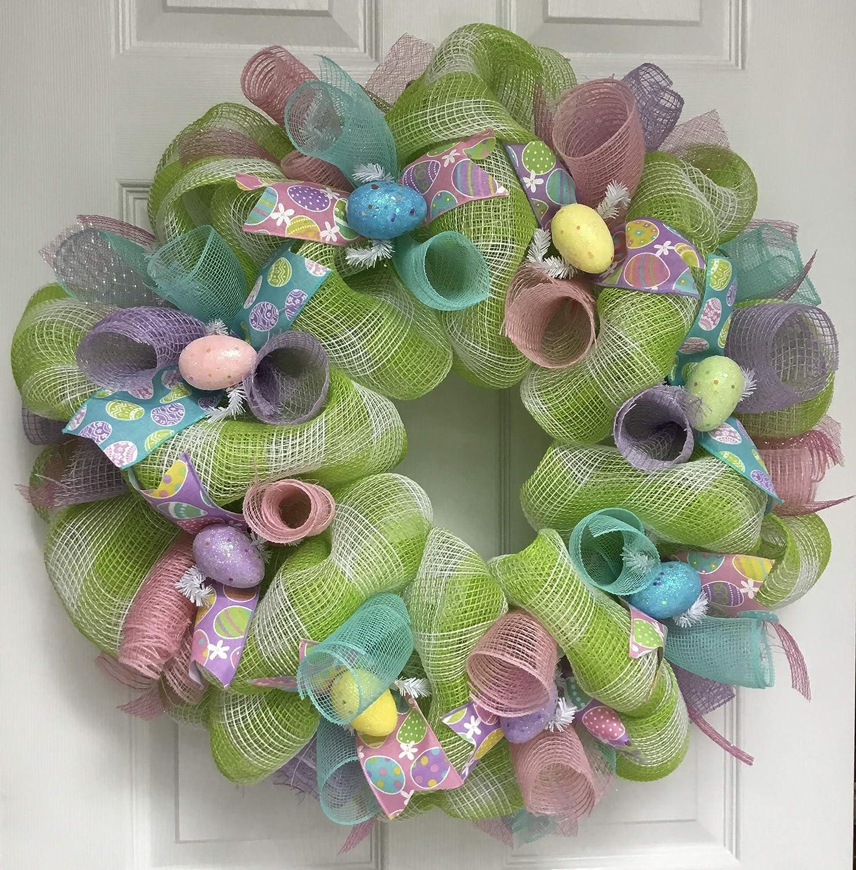 2020春夏新作 Pastel Easter Egg Ribbon Mesh Handmade Deco ふるさと割 Wreath