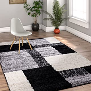 Modern Shag Geometric 5x7 ( 5' x 7'2'' ) Area Rug Cubes Black & Cream Plush Shag Blocks & Squares Plush Shag Easy Care Thick Soft Plush Living Room