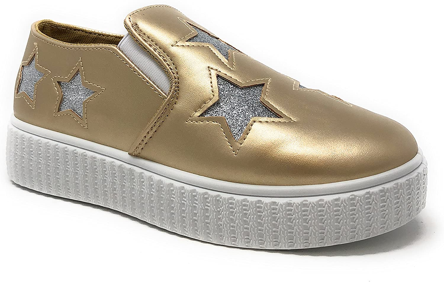 Pink Label Women's Slip-On Stylish Fashion Sneaker with Glitter Stars Pink