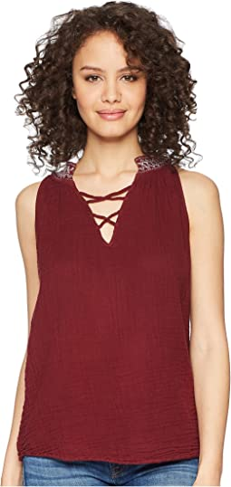 Michael Stars Double Gauze Embroidered Swing Tank