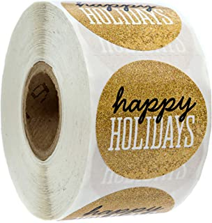 Black & Gold Happy Holidays Christmas Stickers/500 Christmas Tags/Happy Holidays Faux Glitter Sticker
