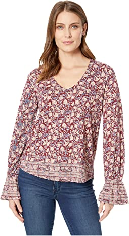 Border Print Cinched Sleeve Top