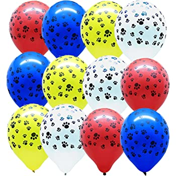Gypsy Jade's Paw Print - Paw Party Balloons, Red - Yellow - Blue - White - Set of 32 Balloons!