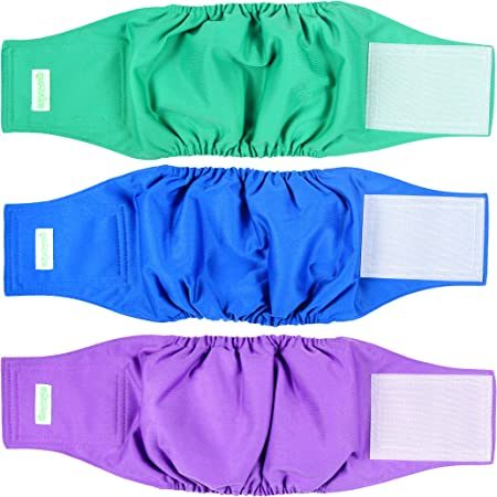 wegreeco Washable Dog Diapers - Washable Male Dog Belly Wrap - Pack of 3