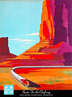 A SLICE IN TIME Santa Fe - The Chief's Way Railroad United States Vintage Travel Home Collectible Wall Decor Advertisement Art Poster Print. 10 x 13.5 inches