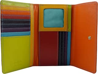 Women's Leather Tri-Fold Flap Over Purse Wallet By Graffiti Gift Box