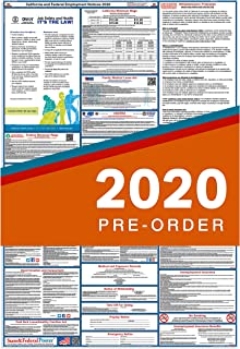 2020 California Labor Law Posters (Laminated) All-in-One State and Federal Approved, OSHA Compliant Vertical 27