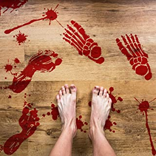 138 Pieces Halloween Bloody Footprint Stickers Bloody Handprint Floor Clings Window Wall Decals for Halloween Vampire Zomb...