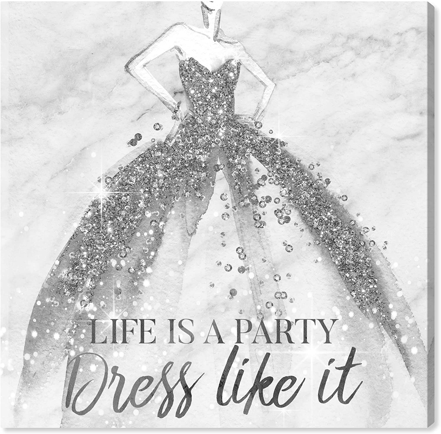Wynwood Studio Fashion and Glam Wall Art Canvas Prints 'Life is a Party Silver' Home Décor, 20