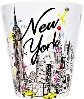 Sweet Gisele | New York City Latte Mug | Ceramic NYC Coffee Cup | Downtown Manhattan Skyline | Empire State Building & Times Square | Brooklyn Bridge | Novelty Gift Souvenir | 11 Fl. Oz (White/Multi)