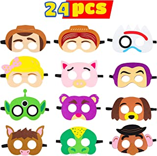 MALLMALL6 24Pcs Toy 4th Masks Birthday Party Supplies Toys 4th Adventure Party Favors Dress Up Costume Mask Include Woody Buzz Lightyear Bo Peep Fork Slinky Dog Jessie for Kids Boys Girls