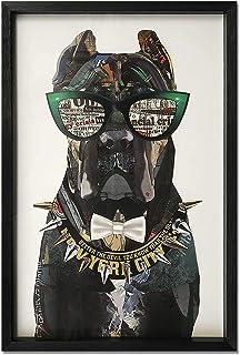 ADM - Perro mastín con gafas - Cuadro con efecto 3D realizado con técnica de collage, enmarcado y protegido por un cristal...
