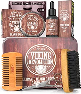 Beard Care Kit for Men- Sandalwood- Ultimate Beard Grooming Kit includes 100% Boar Beard Brush, Wood Beard Comb, Sandalwoo...