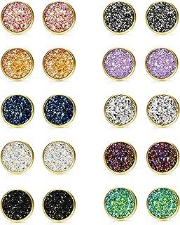 10 Pairs Druzy Stud Earrings Set for Girls Women Hypoallergenic Round Earrings Pierced