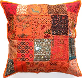 Sophia Art Indian Decorative Cushion Cover 24x24 Cotton Handmade Patchwork Embroidered Sequin Beads Ethnic Flowers Leaves Geometric Square Scatter Floor Pillow Case Fits Upto 24x24 (Orange)